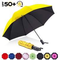 ABCCANOPY Umbrella Compact Rain&Wind Teflon Repellent Umbrellas Sun Protection with Black Glue Anti UV Coating Travel Auto Folding Umbrella, Blocking UV 99.98%,yellow