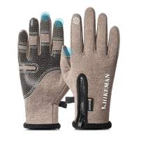 Bike Gloves Men with Touch Screen Fingers, Anti-slip Cycling Running Ski Gloves, Winter Gloves Waterproof and Warm