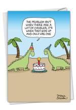 NobleWorks, One Candle - Funny Dinosaur Birthday Card with Envelope - Kids Birthday Notecard, Cartoon Humor C3328BDG