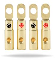 InstallGear 10 AWG Gauge Gold Ring Set Screw Battery Ring Terminals (4 Pack)