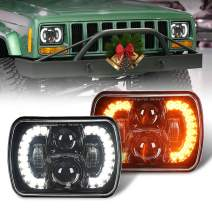 COWONE DOT Cree 120W 5x7 Inch LED Headlights Halo 7x6 Led Headlamp Brightness Turn Signal Light w/High Low Beam Compatible with Jeep Wrangler YJ Cherokee XJ H6054 H5054 6054 6052 Trucks- Pair