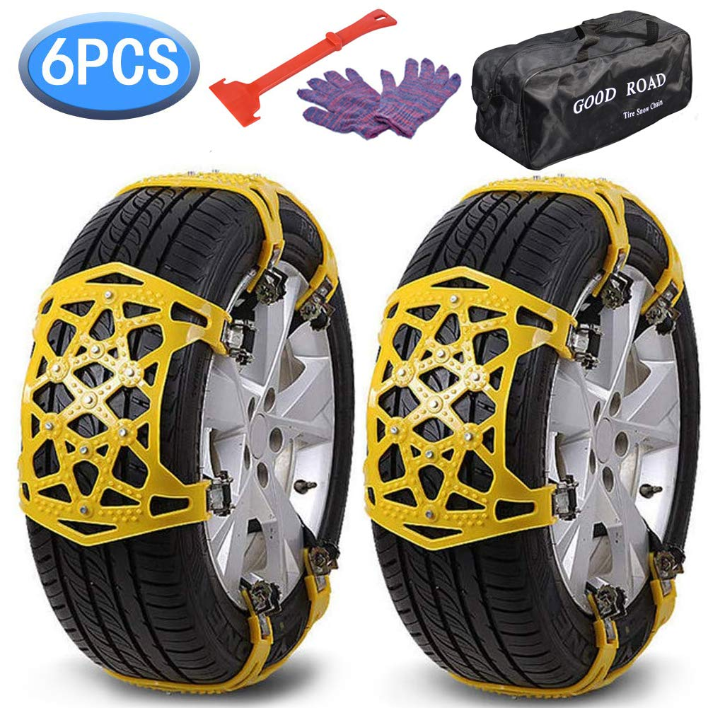 XuSha Car Snow Chains 6 PCS Anti-Skid Cables Emergencies and Road Trip Premium Quality Strong Durable Car Chains Applicable Tire Width 165-275mm/6.4-10.9'' for Car SUV Trucks