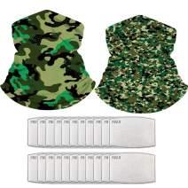 NiUB5 Neck Gaiter Set of 2 Multi-Purpose Bandana Balaclava Face Covering Headwear with 20PCS PM 2.5 Activated Carbon Filter