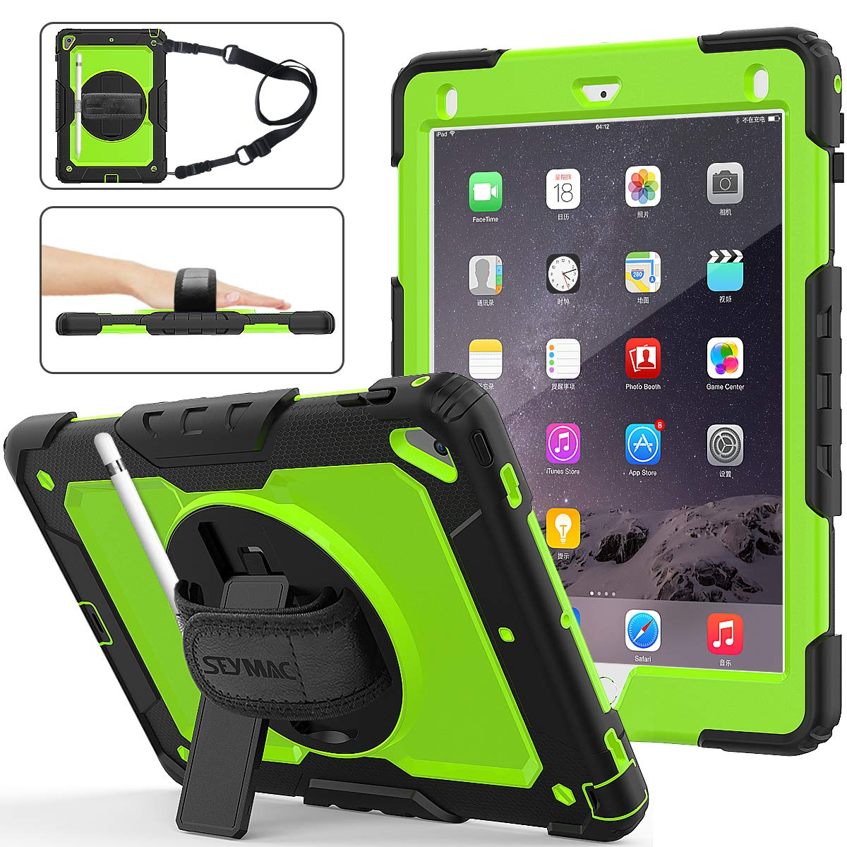 iPad 6th/5th Generation Case, SEYMAC Stock [Full-body] Drop Protect &Shockproof Hybrid Armor Protection with 360 Rotating Stand [Pencil Holder] Hand Strap for iPad 5th/6th/ Air 2/ Pro 9.7(Green+Black)