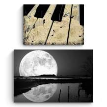 Startonight Canvas Wall Art   Black and White Romantic   Moon and Piano   Buy one Get Two   Bundle Offer   Modern Home Decoration   Ready to Hang Paintings