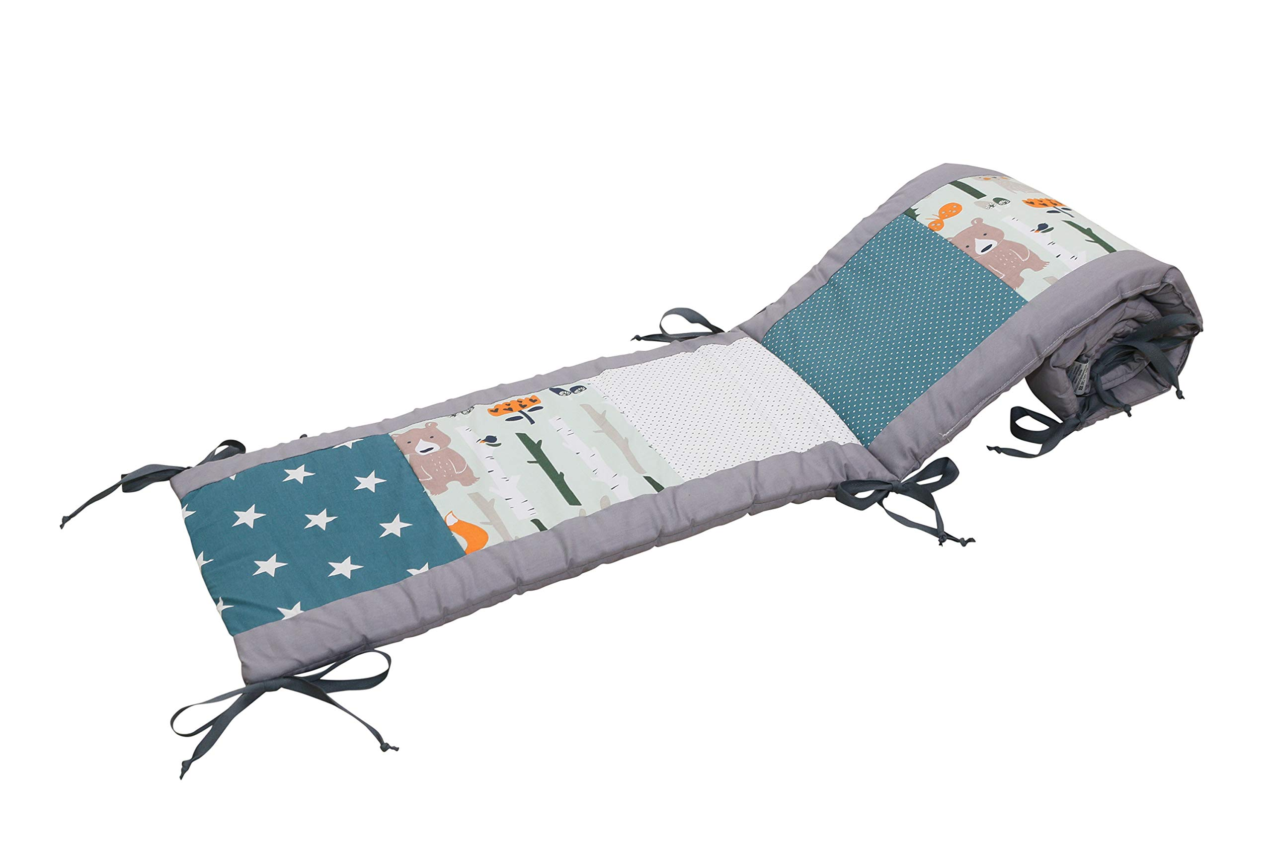 """Baby Crib Bumper Pads by ULLENBOOM   Woodland/Stars/Polka Dots   Breathable Liner   80"""" x 12"""" - Unisex Teal/Grey"""