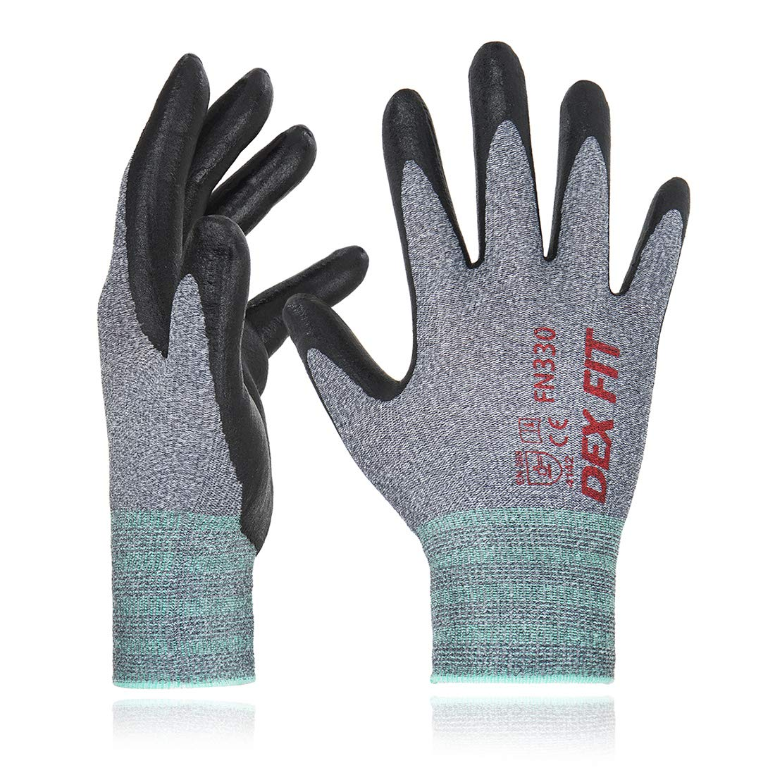 DEX FIT Nitrile Work Gloves FN330, 3D Comfort Stretch Fit, Durable Power Grip Foam Coated, Smart Touch, Thin Machine Washable, Grey Small 3 Pairs Pack