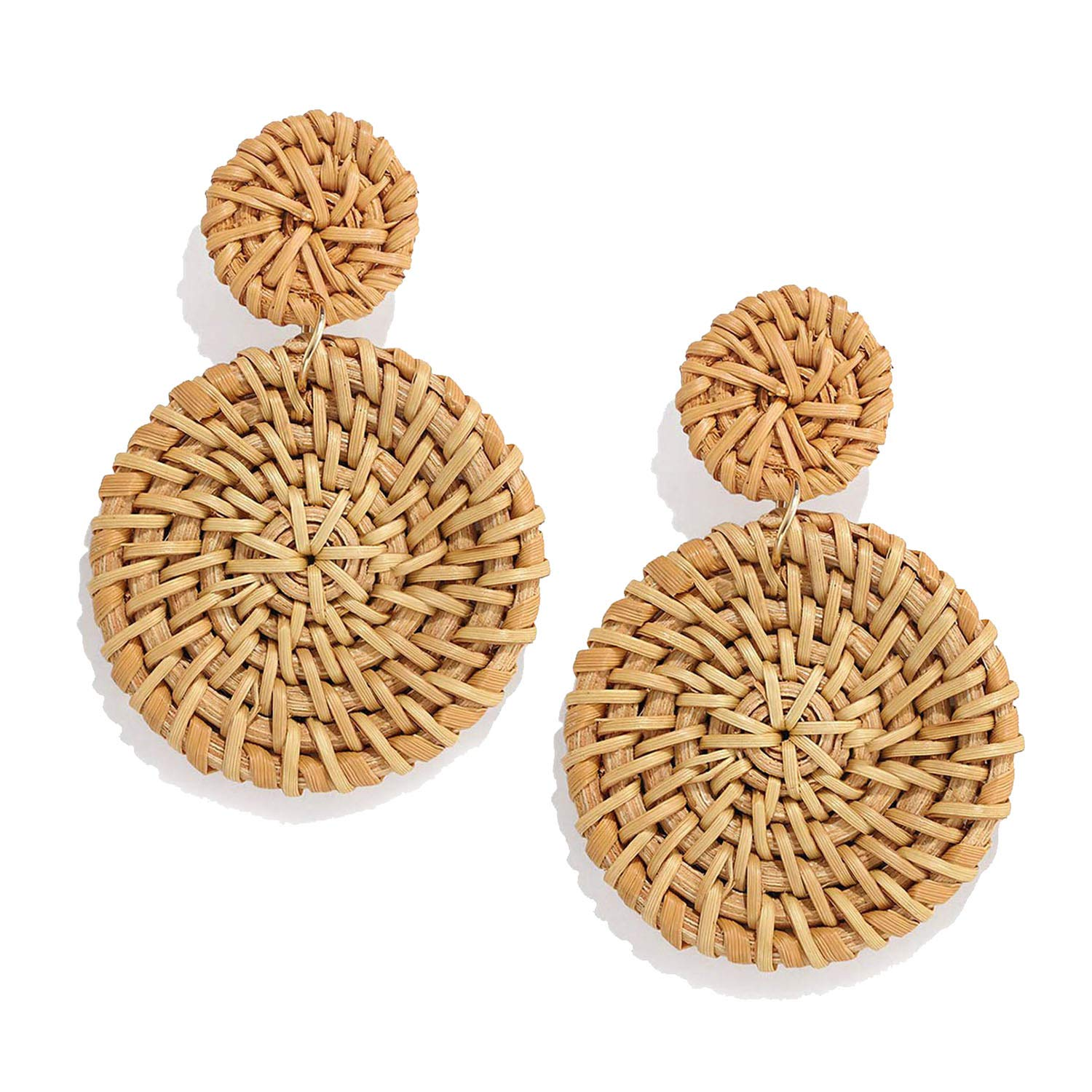 CEALXHENY Rattan Earrings for Women Handmade Straw Wicker Braid Drop Dangle Earrings Lightweight Geometric Statement Earrings