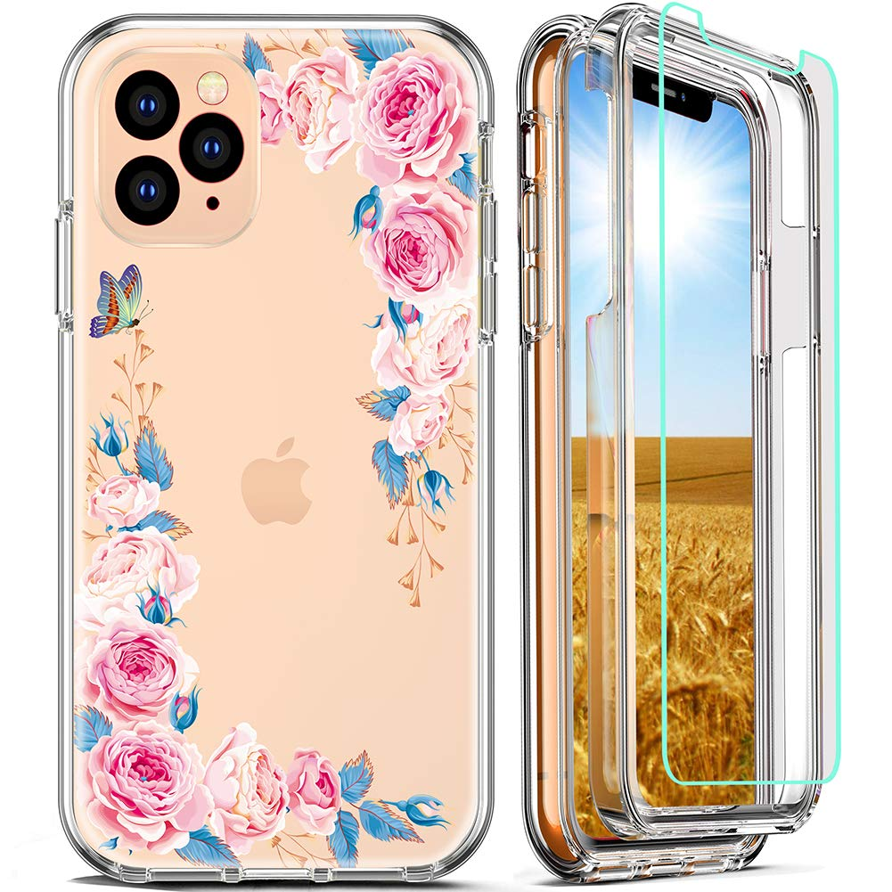 FIRMGE for iPhone 11 Pro Max Case, with Tempered Glass Screen Protector 360 Full-Body Coverage Hard PC TPU Silicone 3 in 1 Military Grade Heavy Duty Shockproof Phone Protective Cover_ Clear Flower