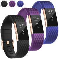 UMAXGET Compatible with Fitbit Charge 2 Bands, 3-Pack Soft Silicone Sport Adjustable Wristband Special Edition with Rose Gold Buckle for Men Women, Large Small