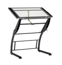 """SD STUDIO DESIGNS Triflex Drawing Table, Sit to Stand Up Adjustable Office Home Computer Desk, 35.25"""" W X 23.5"""" D, Charcoal Black/Clear Glass"""