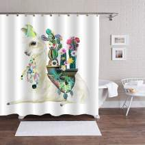 """MitoVilla Mexican Llama Shower Curtain Set, Alpaca with Ethnic Blanket, Cactus and Boho Feathers Bathtub Decoration for Women and Baby Girls Llama Gifts, Beige, Green, 72"""" W x 72"""" L"""