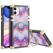 XNMOA for iPhone 11 Case with Ring Holder Square Edge for Women Girl Rainbow Glitter Bling Sparkly Soft Protective Kickstand Case Metal Reinforced Corners Shockproof for iPhone 11 6.1inch Purple