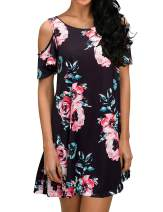 Koscacy Women's Summer Casual Floral Cold Shoulder T Shirt Dresses with Pocket