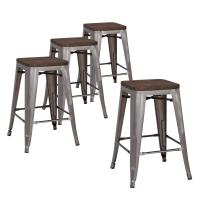 """LCH 24"""" Metal Industrial Counter Height Bar Stools, Set of 4 Backless Indoor-Outdoor Stackable Stool Chairs with Square Elm Wood Seat, Glossy Steel"""