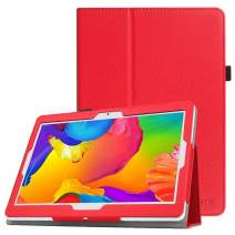 Fintie Case for Dragon Touch 10 inch K10 / Notepad K10 / Max10 Tablet, Premium PU Leather Stand Cover Compatible Lectrus 10.1, Victbing 10, Hoozo 10, Winsing 10, ZONKO 10.1 Android Tablet (Red)
