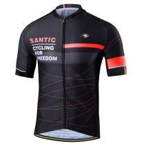 Santic Men Cycling Jerseys Short Sleeve Bike Shirts Full Zip Bicycle Jacket with Pockets
