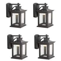 Bestshared Outdoor Wall Mount LED Lights, LED Lantern in Black Finish, 9W LED, 3000K Warm White (Black, 4 Pack)