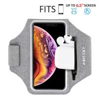 Running Armband with Airpods Bag Cell Phone Armband for iPhone 11/11 Pro/XR/XS/8/7, Water Resistant Sports Phone Holder Case with Touchscreen & Zipper Slot Car Key Holder for 6.5 inches Phone (Grey)