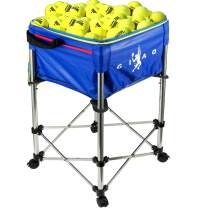 Bkisy Tennis Ball Cart Hold Up to 160 Balls, Adjustable Height Teaching Ball Hopper with Portable Bag for Baseball Softball Badminton and Tennis Ball