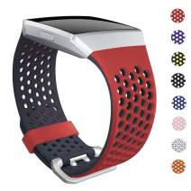 SKYLET Bands Compatible with Fitbit Ionic, Soft Silicone Breathable Replacement Wristband Compatible with Fitbit Ionic Smart Watch with Buckle [Orange Red-Black, Large]