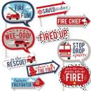 Funny Fired Up Fire Truck - Firefighter Firetruck Baby Shower or Birthday Party Photo Booth Props Kit - 10 Piece
