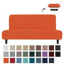 Easy-Going Stretch Sofa Slipcover Armless Sofa Cover Furniture Protector Without Armrests Slipcover Soft with Elastic Bottom for Kids,Polyester Spandex Jacquard Fabric Small Checks(Futon,Orange