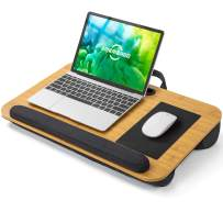 AMERIERGO Lap Desk - Fits Up to 17 Inch Laptop Lap Desk with Wrist Rest & Built-in Mouse Pad, Portable Laptop Stand for Sofa & Bed, Multifunctional Slot for Tablet, Pen & Phone (Natural Wood)