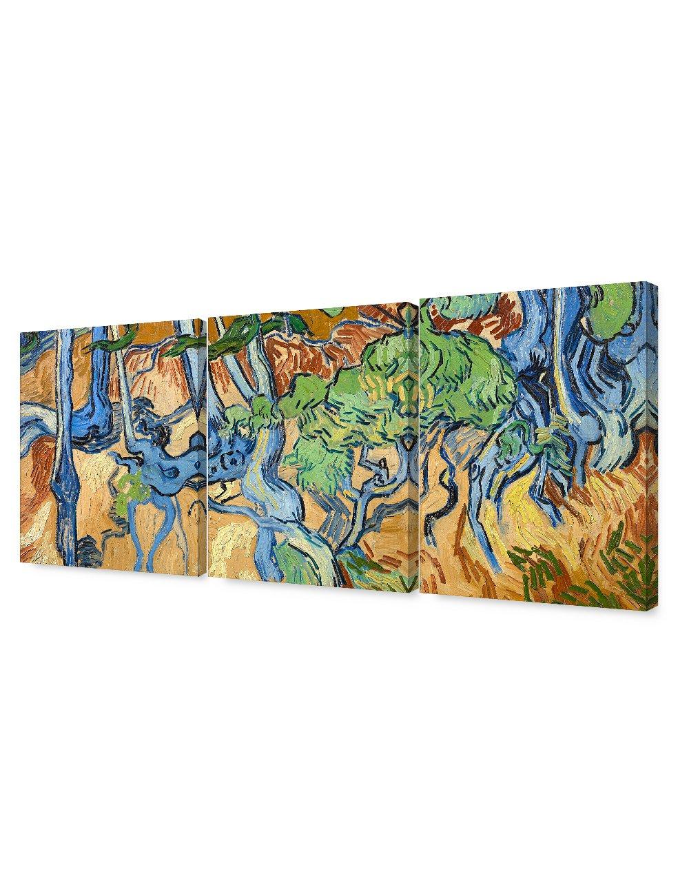 DECORARTS - Tree Roots (3 Piece Set), Vincent Van Gogh Art Reproduction. Giclee Canvas Prints Wall Art for Home Decor. 16x20, 3pcs/Set