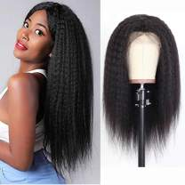 4X4 Lace Front Wig Human Hair 14 Inch Kinky Straight Closure Wig Preplucked Bleached Knots Glueless Lace Front Wig With Baby Hair Unprocessed Brazilian Virgin Hair Wet And Wavy Natural Color 14 Inch