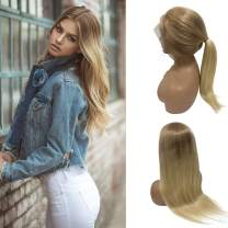 """Ombre Blonde Lace Front Wig Pre Plucked Human Hair Wig 2 Tones Golden Brown to Bleached Blonde Soft Straight Brazilian Virgin Hair 613 Lace Wig Free Part Bleached Knots for Women 20"""" 150% Density"""