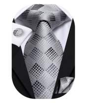 Hi-Tie Black Gray Necktie for Men with Pocket Square and Cufflinks