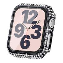 Surace Compatible with Apple Watch Case 38mm for Apple Watch Series 6/5/4/3/2/1, Bling Cases with Over 200 Crystal Diamond Protective Cover Bumper for 38mm 40mm 42mm 44mm, Black
