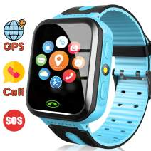 [Includes SIM Card] Kids Smart Watch - Kids GPS Tracker Smart Watch for Boys with Calls SOS Anti-Lost Kids Smartwatch Phone, Child Wrist Watch for Birthday Gifts