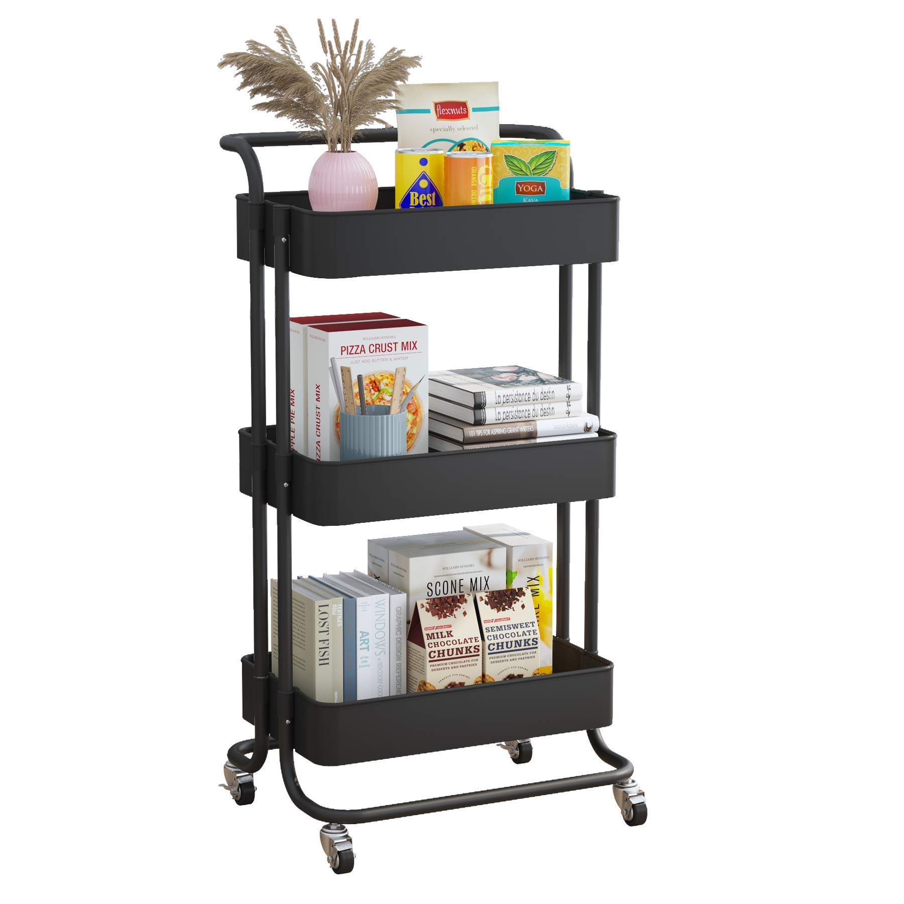 ACCSTORE 3-Tier Rolling Utility Cart, Storage Cart with Handle Multi-Purpose with Locking Wheels, Suitable for Kitchen, Living Room, Office,Black