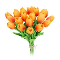 MACTING 22 Heads Latex Real Touch Artificial Flowers Tulips, Fake PU Tulips Flowers for Bridal Bouquet Wedding Home Party Decor (Orange)