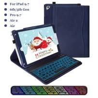 iPad Keyboard Case 9.7 6th Gen 2018, iPad 2017(5th,Gen), iPad Pro 9.7, iPad Air 1/2, 7 Color Backlit with BT Wireless Keyboard (Navy Blue)