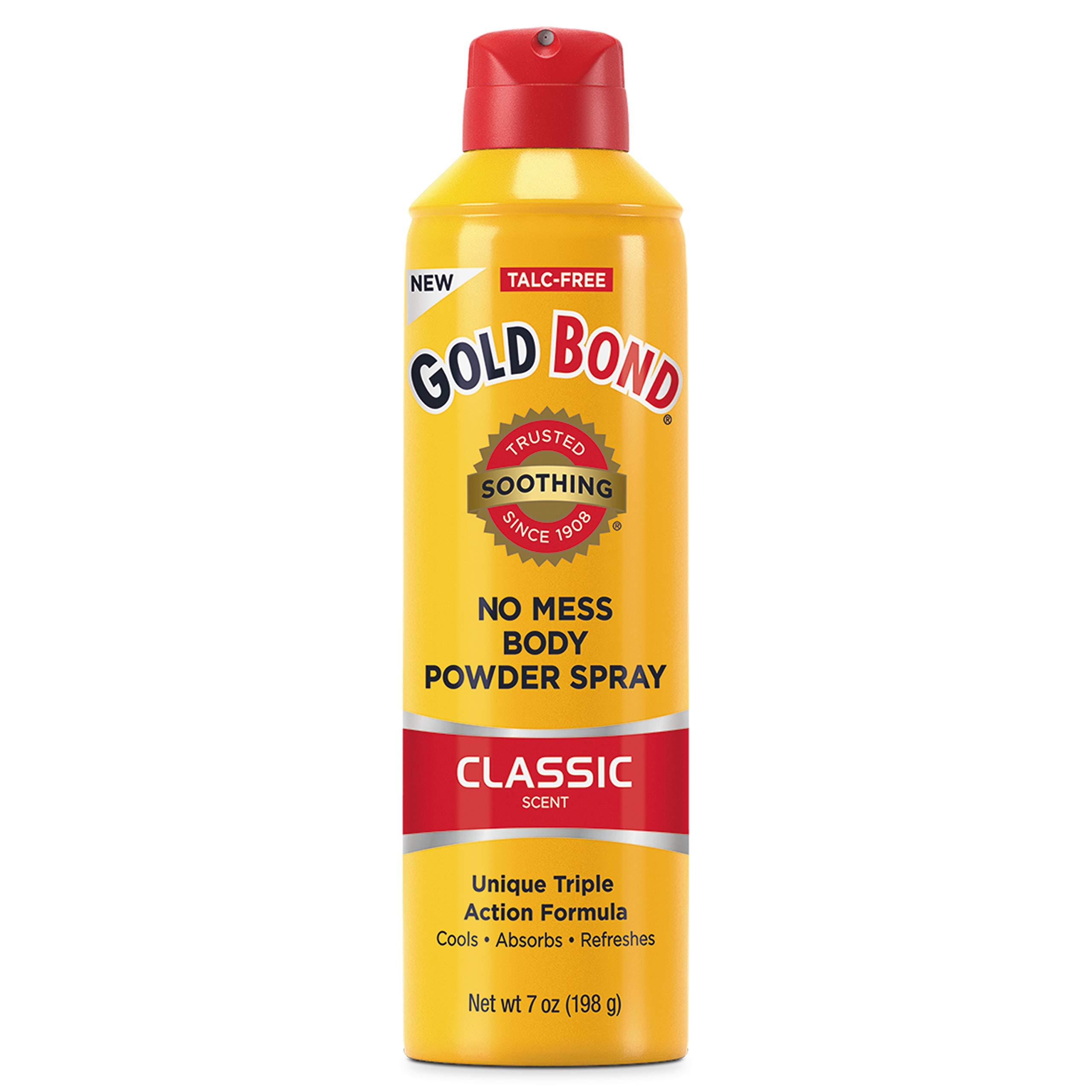 Gold Bond No Mess Talc-Free Body Powder Spray, 7 oz, Classic Scent