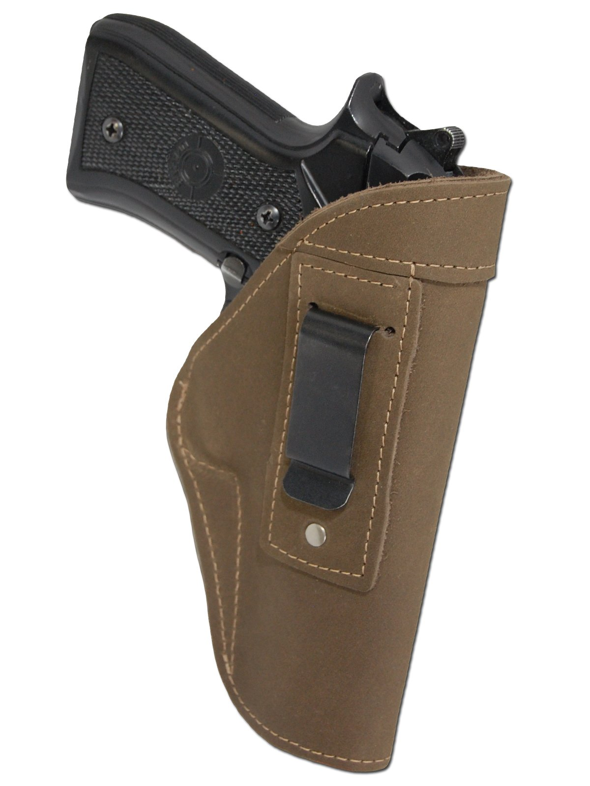 Barsony New Olive Drab Leather Gun IWB Holster for Full Size 9mm 40 45