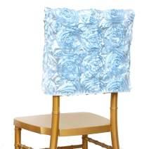Efavormart 10PCS 3D Rosette Satin Chair Cap Slipcover Chivari Square Top Chair Caps for Wedding Party Decorations Light Blue