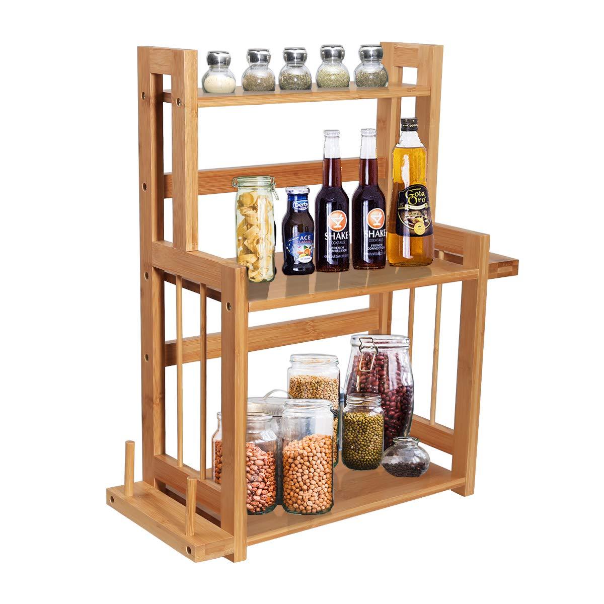 Yardeen 3-Tier Bamboo Spice Rack - Multi-Purpose Waterproof Wooden Countertop Storage Organizer Shelf for Kitchen and Bathroom