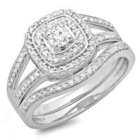 Dazzlingrock Collection 0.60 Carat (ctw) 10K Gold Round Diamond Bridal Split Shank Halo Engagement Ring With Matching Band Set