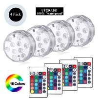 YUNLIGHTS Submersible Led Lights, 4 Pack Waterproof RGB Multi-Color Underwater Light, Battery Powered Pond Lights with Remote Controller for Pool, Vase, Hot Tub, Bathtub, Fountain,Aquarium, Fish Tank