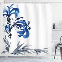 """Ambesonne Oriental Shower Curtain, Watercolors Eastern Floral Motif Brushstroke Effect Hand Drawn Work of Art Image, Cloth Fabric Bathroom Decor Set with Hooks, 70"""" Long, Gray Blue"""
