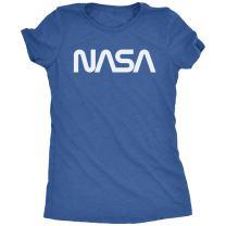 Vintage NASA White Worm Logo Women's Tri-Blend T-Shirt (Royal Frost, X-Small)