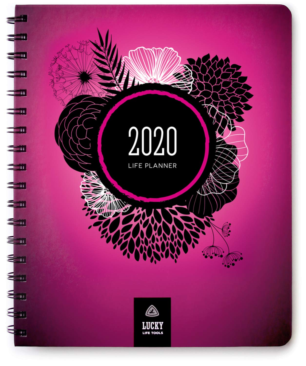 Life Planner & Goal Setting Agenda, by Lucky Life Tools (Pink Deluxe - 2020)