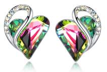 "Leafael""Infinity Love"" Heart Crystal Earrings Birthstone Jewelry Gifts for Women, Silver-tone"