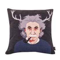 MR FANTASY Pop Art Antlers Einstein Throw Pillow Cover Cotton Linen Cushion Cover Case Shabby Chic Farmhouse Pillowcase Cover Pillow Shell for Sofa Bed 18''x18''