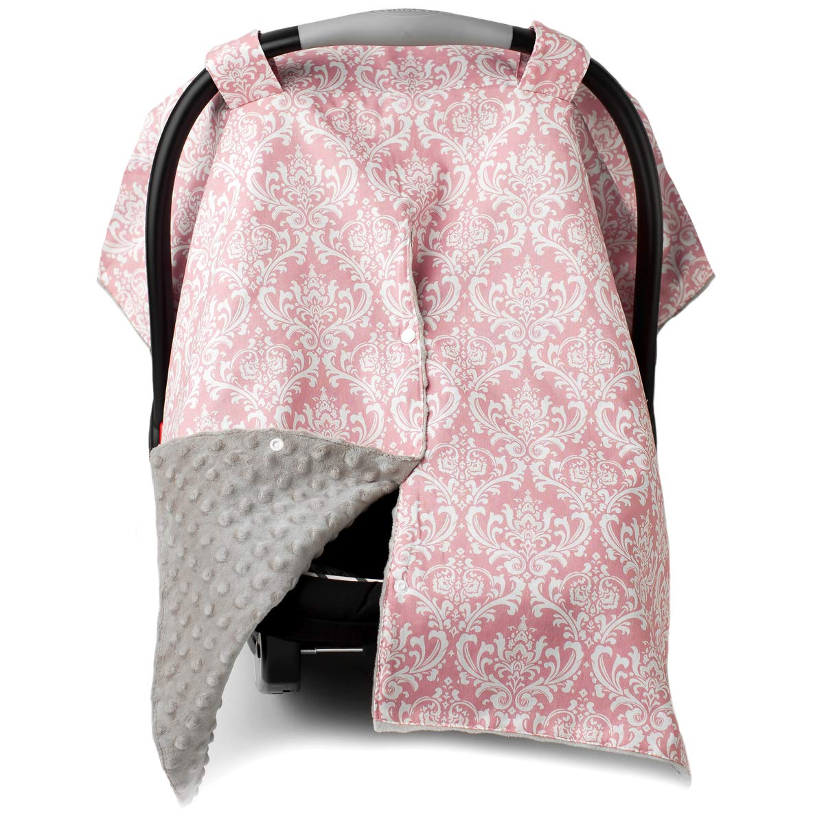 2 in 1 Carseat Canopy and Nursing Cover Up with Peekaboo Opening   Large Infant Car Seat Canopy for Girl   Best Baby Shower Gift for Breastfeeding Moms   Pink Damask Pattern with Champagne Minky
