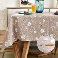 LOHASCASA Vinyl Oilcloth Tablecloth Rectangle Wipeable Oil-Proof Waterproof PVC Tablecloth Coffee Rose 54 x 72 Inch